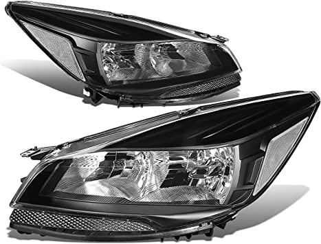 Headlights Assembly Replacement for 2013 2014 2015 2016 Ford Escape with Black Housing Driver and Passenger Side