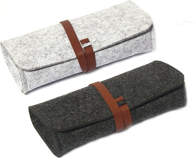 Estuche de gafas de fieltro, paquete de 2 bolsas de gafas de sol enrollables ultra ligeras para pequeñas y medianas bolsas de almacenamiento para lápices (negro gris): Amazon.es: Ropa y accesorios