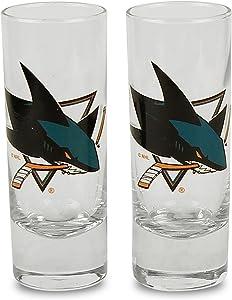 NHL Color Team Logo 2oz Cordial Shot Glass 2-Pack (San Jose Sharks)