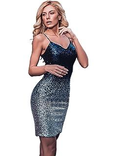 f9c27f55f04b Ever Pretty Women's Spaghetti Straps Short Gradient Sequin Short Bodycon  Party Dresses 04109