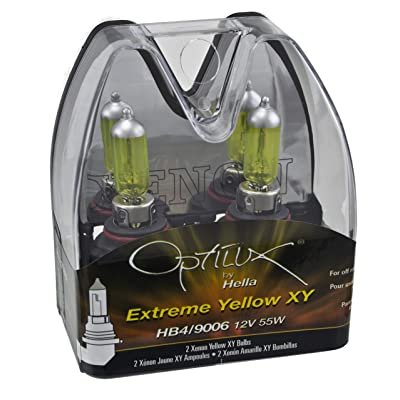 Optilux Hella H71070602 XY Series HB4 9006 Xenon Yellow Halogen Bulbs, 12V, 55W, 2 Pack: Automotive