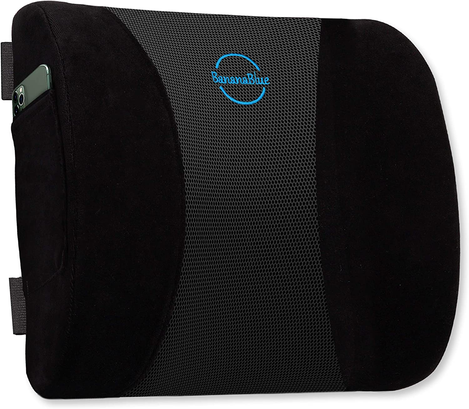 Ergonomic Back Cushion - 100% Memory Foam Lumbar Support Pillow for Car, Computer and Desk Chairs - Relieves Muscle Tension, Lower Back Pain, and Improves Posture.