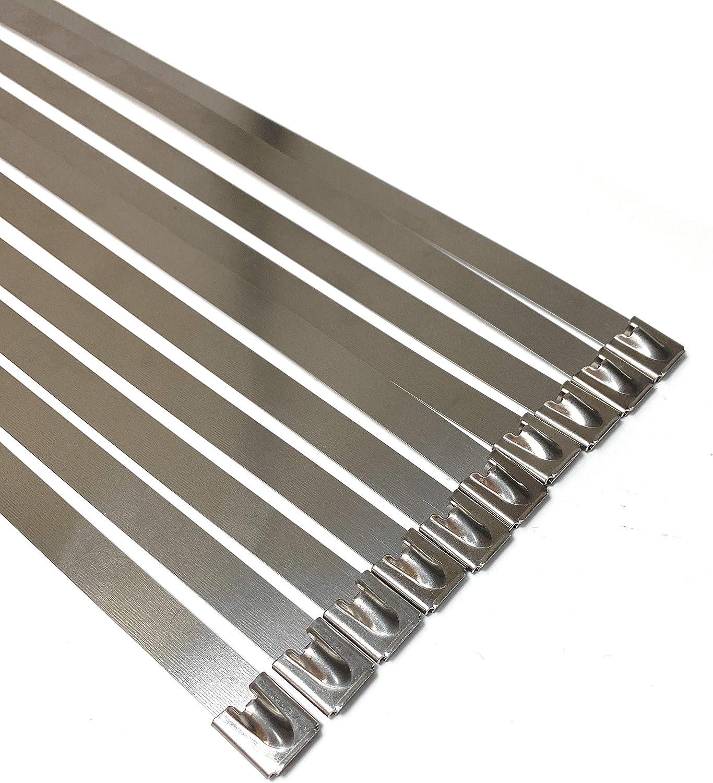 tr/ès long et tr/ès large 12mm x 500mm Jeu de 10 colliers de serrage en acier inoxydable SS316 tr/ès r/ésistant