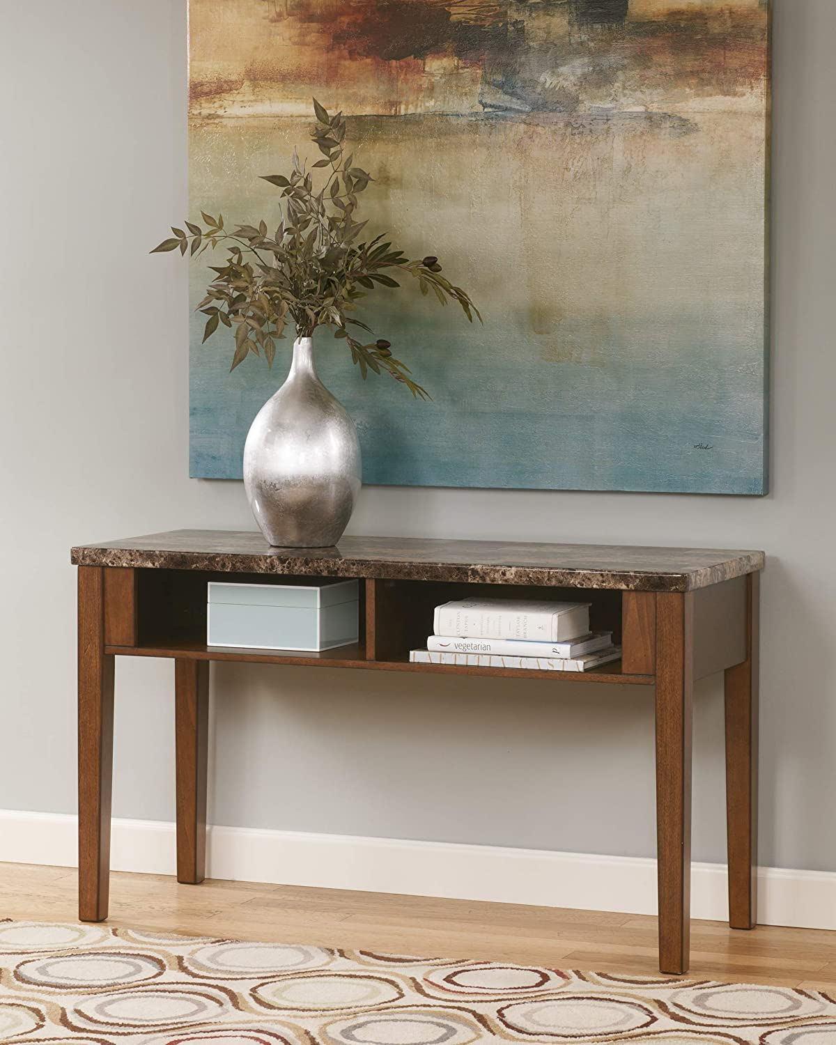 Ashley Furniture Signature Design – Theo Console Sofa Table – 2 Open Shelves – Faux Marble Top – Warm Brown