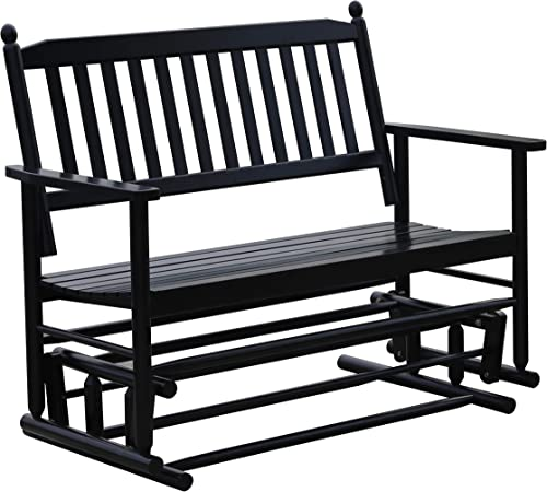 Double Outdoor Glider Garden Bench, Patio Swing Rocking Glider – Deck Swing, for Porch, Garden, Sunroom, Backyard or Deck, Black