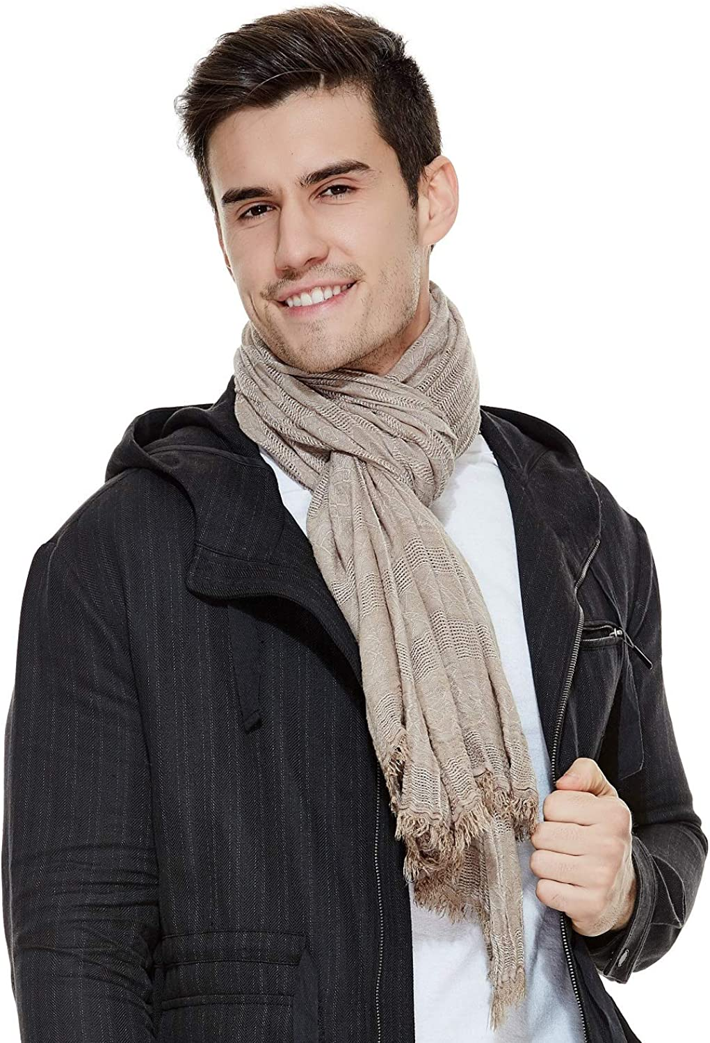 Mens Scarf Beige Scarf Fashion Crinkle Shawl Winter Best Gift The Twins  Dream at Amazon Men's Clothing store