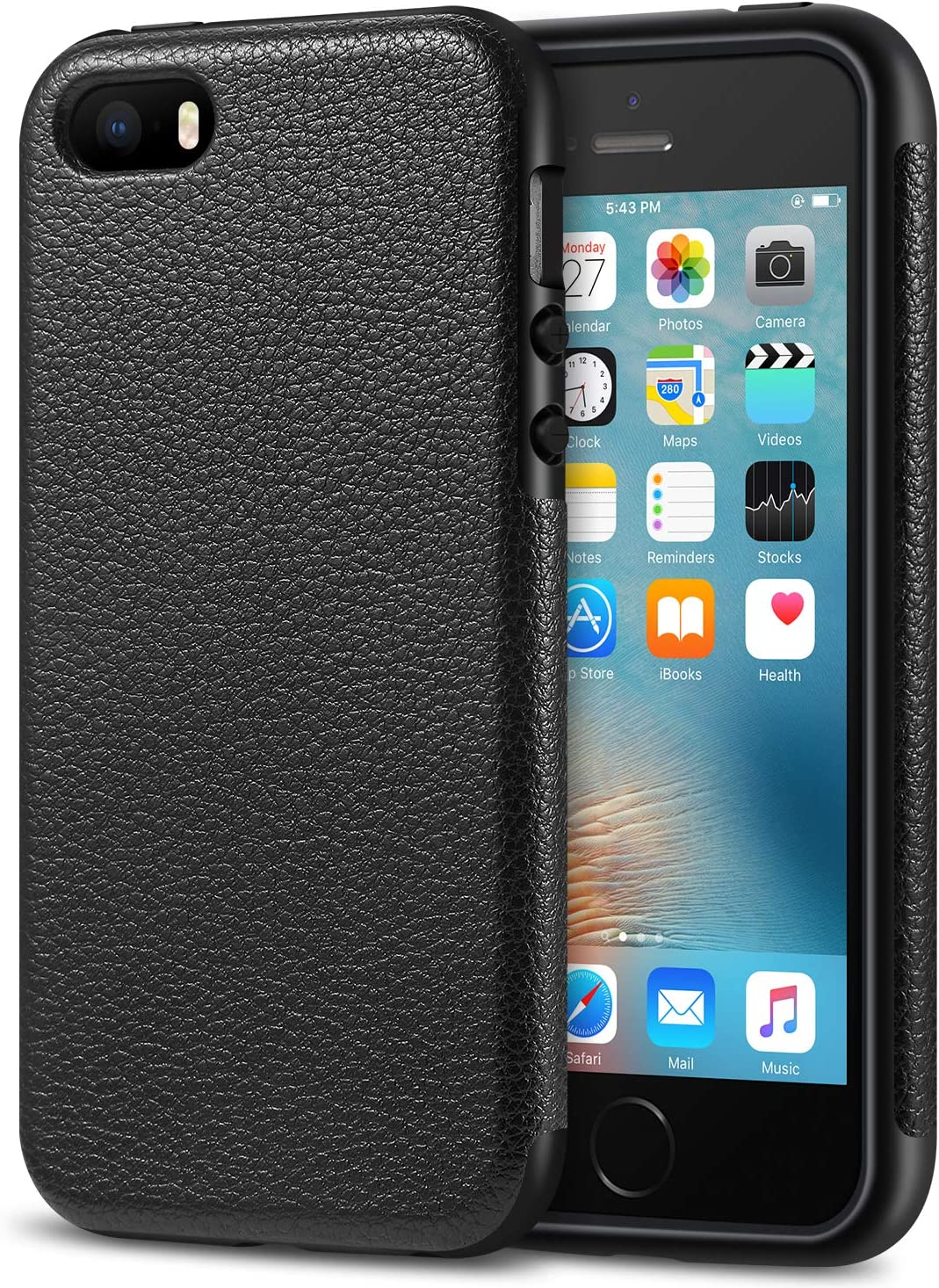 Tasikar iPhone SE Case Drop Protection Case Premium PU Leather and TPU Design for iPhone SE and iPhone 5S (Black)