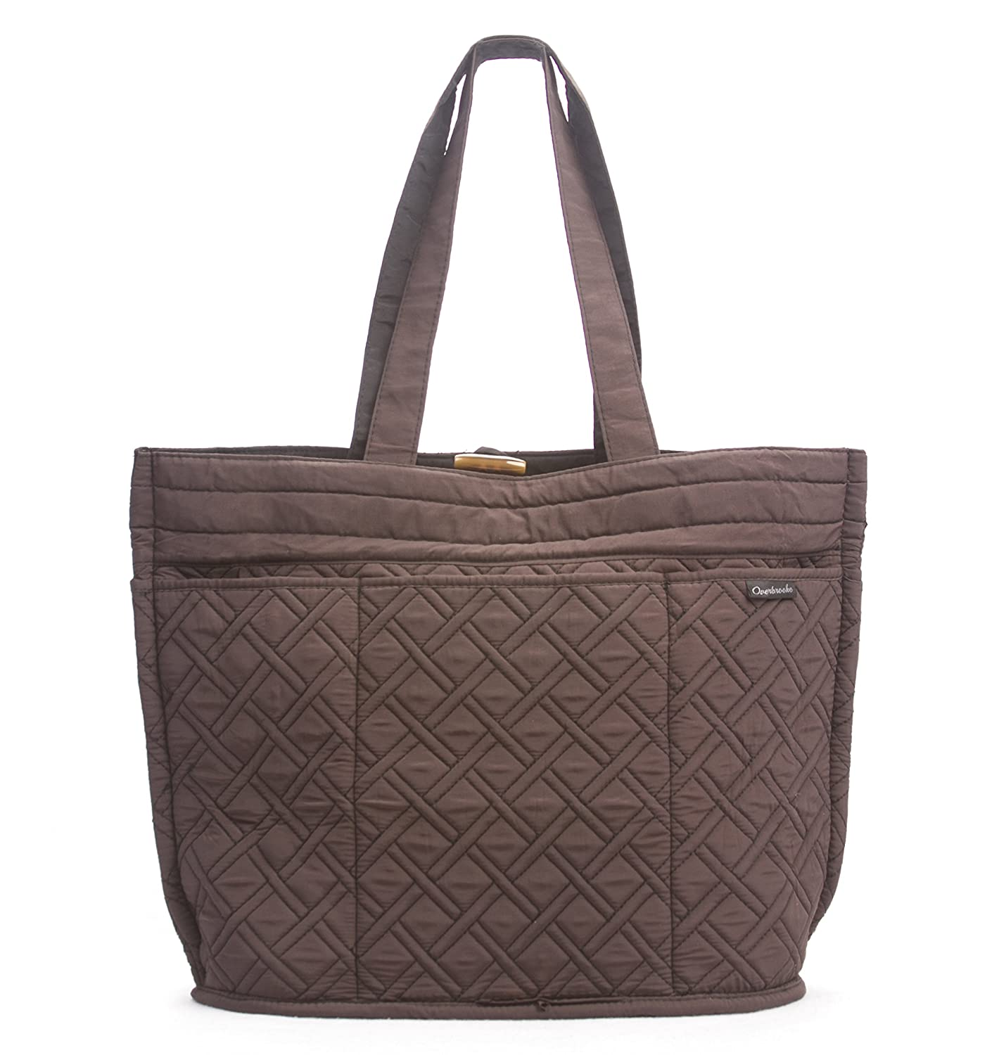 Pursfection Expandable Tote Bag in Quilted Fabric - Dark Brown ... : quilted tote bag - Adamdwight.com