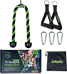iohulu Tricep Rope Cable Attachment 36 Inch   Exercise Rope Workout Rope for Home Gym   Cable Machine Attachment   Tricep Pull Down Rope Exercise Machine Attachment Set with Storage Bag