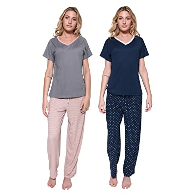 4 Piece: Women's Super-Soft Pajama Set V-Neck Short Sleeve Top with Pants Loungewear at Amazon Women's Clothing store