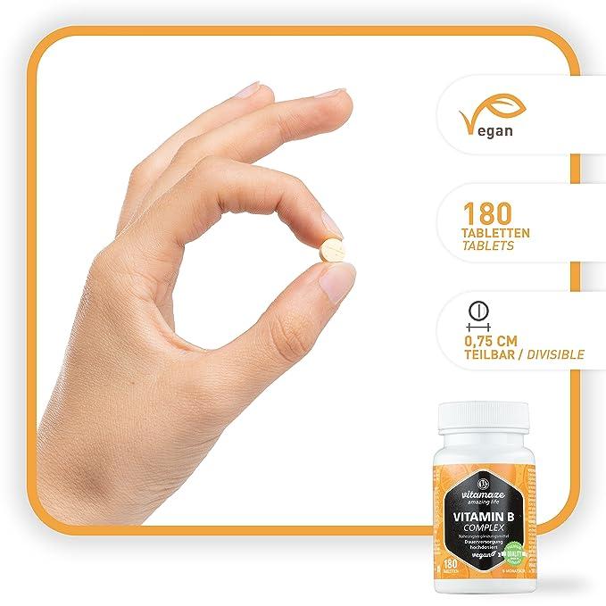 Vitamina B Complex con 180 tabletas veganas de dosis alta del para 6 meses de suministro B1, B2, B3, B5, B6, B7, B9, B12 Hecho en Alemania sin ...