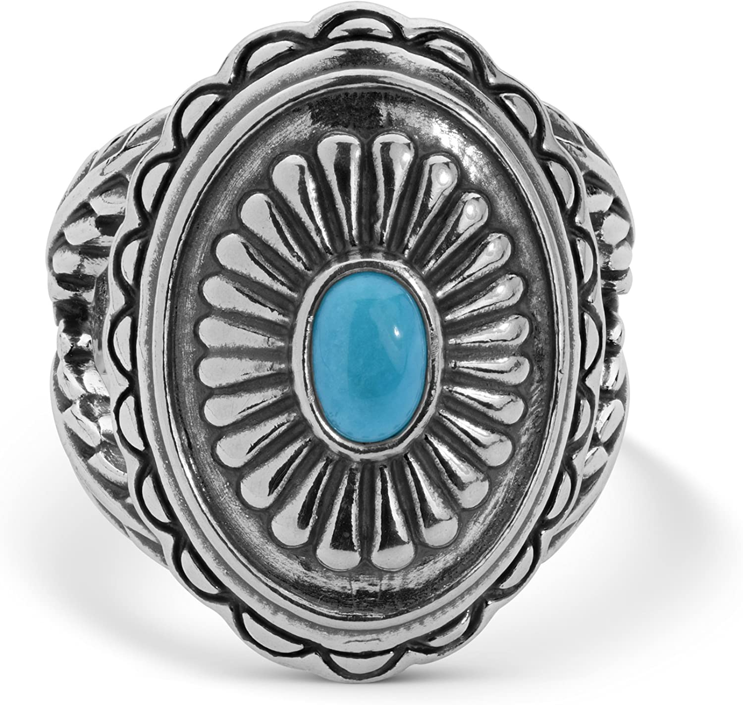 Sterling Silver Sz 5 Thru 10 Sleeping Beauty Turquoise Concho Ring