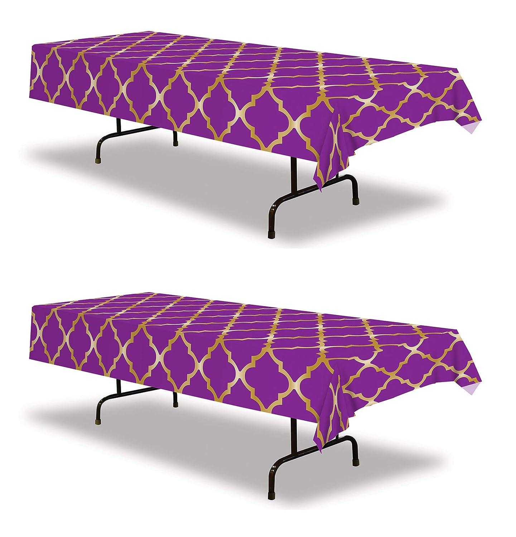 2 Piece Beistle 53576 Lattice Tablecover 54 x 108 Purple//Gold