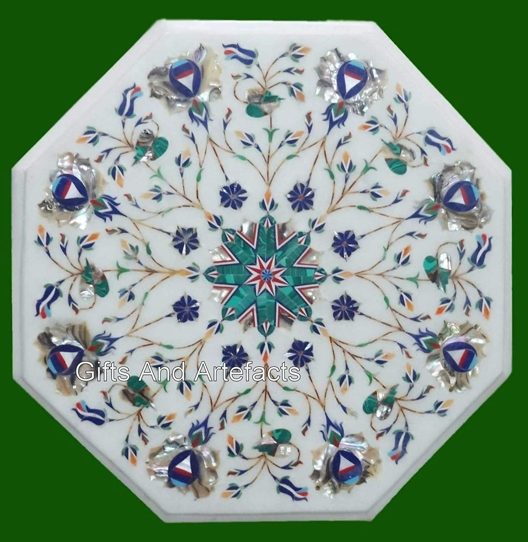 Gifts And Artefacts - Mesa de centro para sofá octogonal (35,4 cm), color blanco