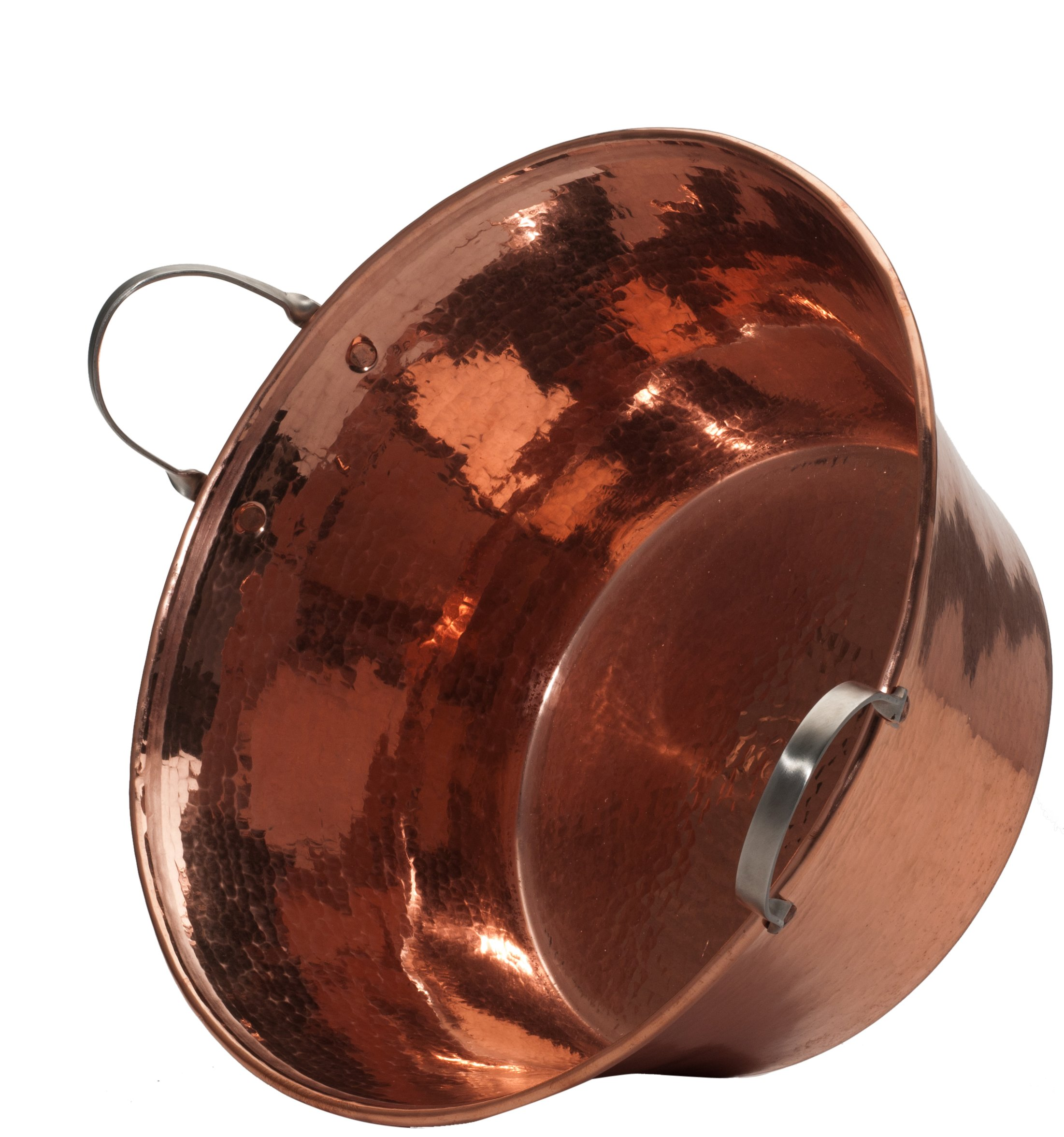 Sertodo Copper, Hand Hammered 100% Pure Copper, Permian Basin with Stainless Steel Handles, 15 inch by 7 inch high