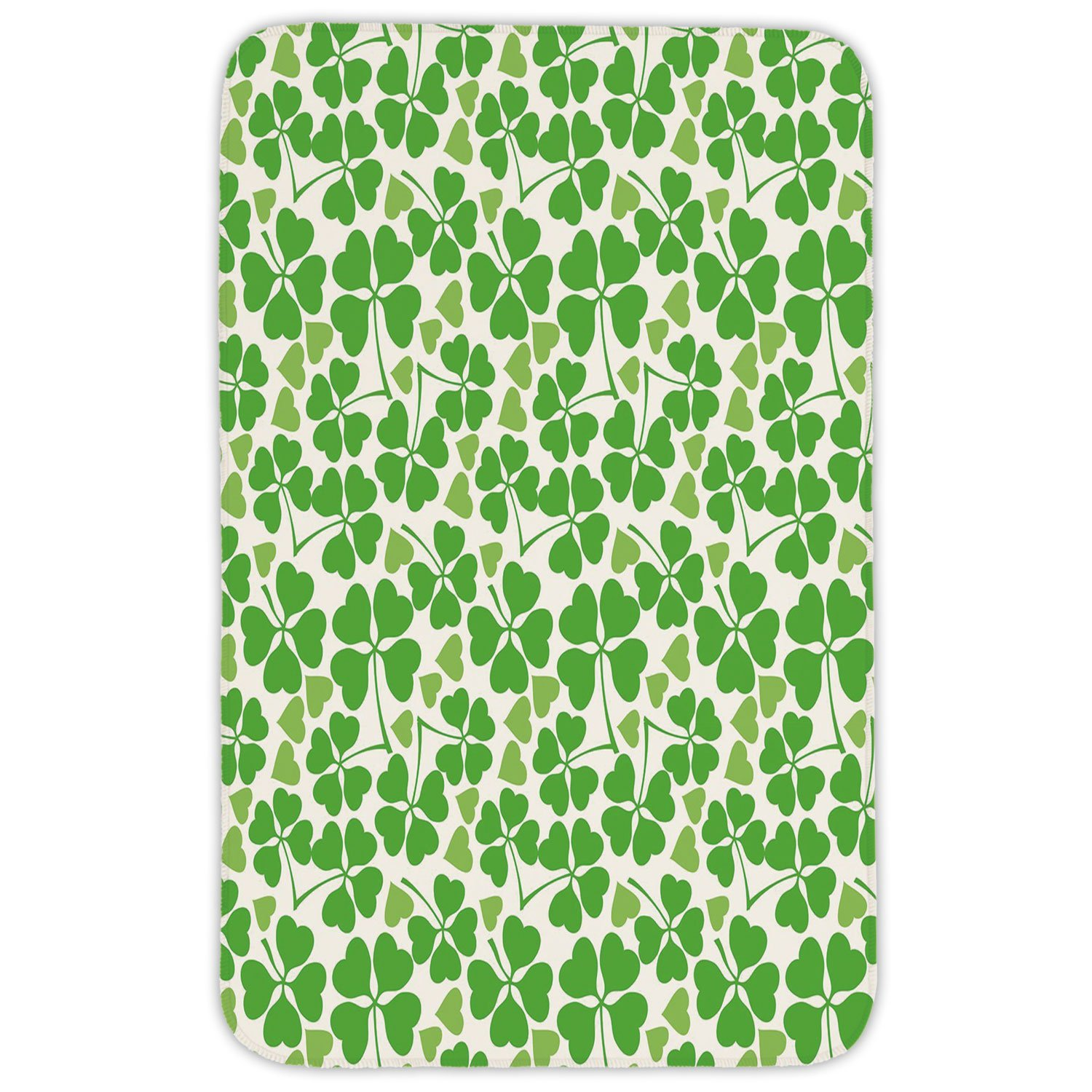 Rectangular Area Rug Mat Rug,Irish,Gaelic Nature Garden Decor Spring Clovers with Cute Hearts Freshness Decorative,Lime Green Pistachio White,Home Decor Mat with Non Slip Backing