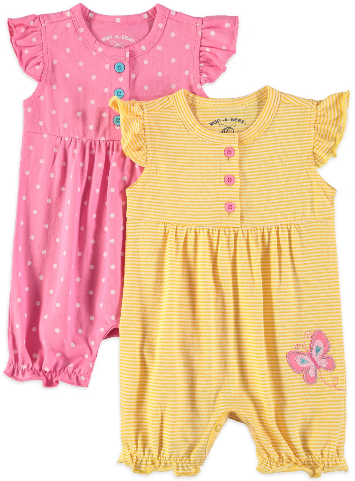 Wan-A-Beez Baby Boys' 2 Pack Graphic Short Sleeve Romper (12 Months, Pink Butterfly)