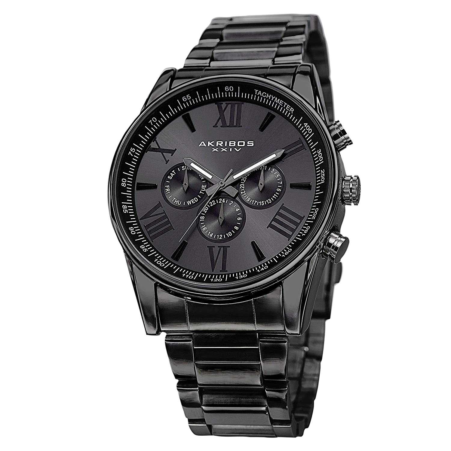 cad939da5 Akribos Multi-Function Stainless Steel Bracelet Watch - Three Hand Movement  with Two Time Zones and Date Complication - Men's Ultimate Swiss Watch -  AK736