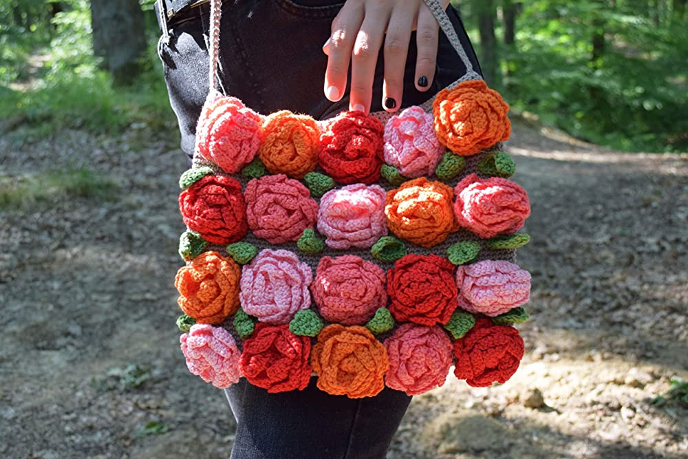 ECO friendly pink natural yarn reusable trendy cotton crochet big bobbles bag knitted bubbles rosy handbag net tote blush purse boho sac