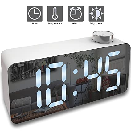 X Ykoki Alarm Clock U2013 Digital Clock LED Display U2013 Time Snooze Temperature  Brightness Dimmer U2013