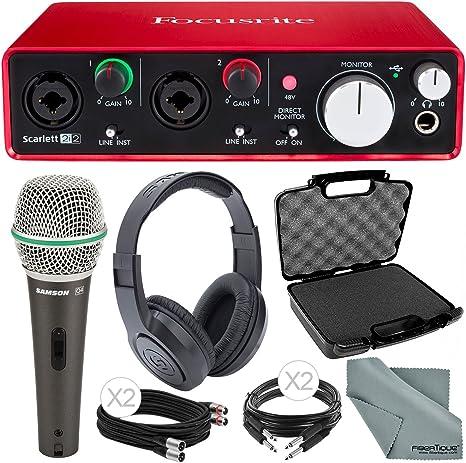 Focusrite Scarlett 2i2 (2ª generación) interfaz de audio USB y con micrófono y auriculares paquete de audio de lujo: Amazon.es: Instrumentos musicales