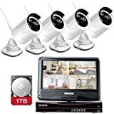 YESKAMO Wireless CCTV Camera Security Systems 10 inch Monitor Pre-install 1TB hard drive Auto Pair 4CH 960P 1.3M HD WiFi IP Cameras For Outdoor Home Video Surveillance Day and Night Vision