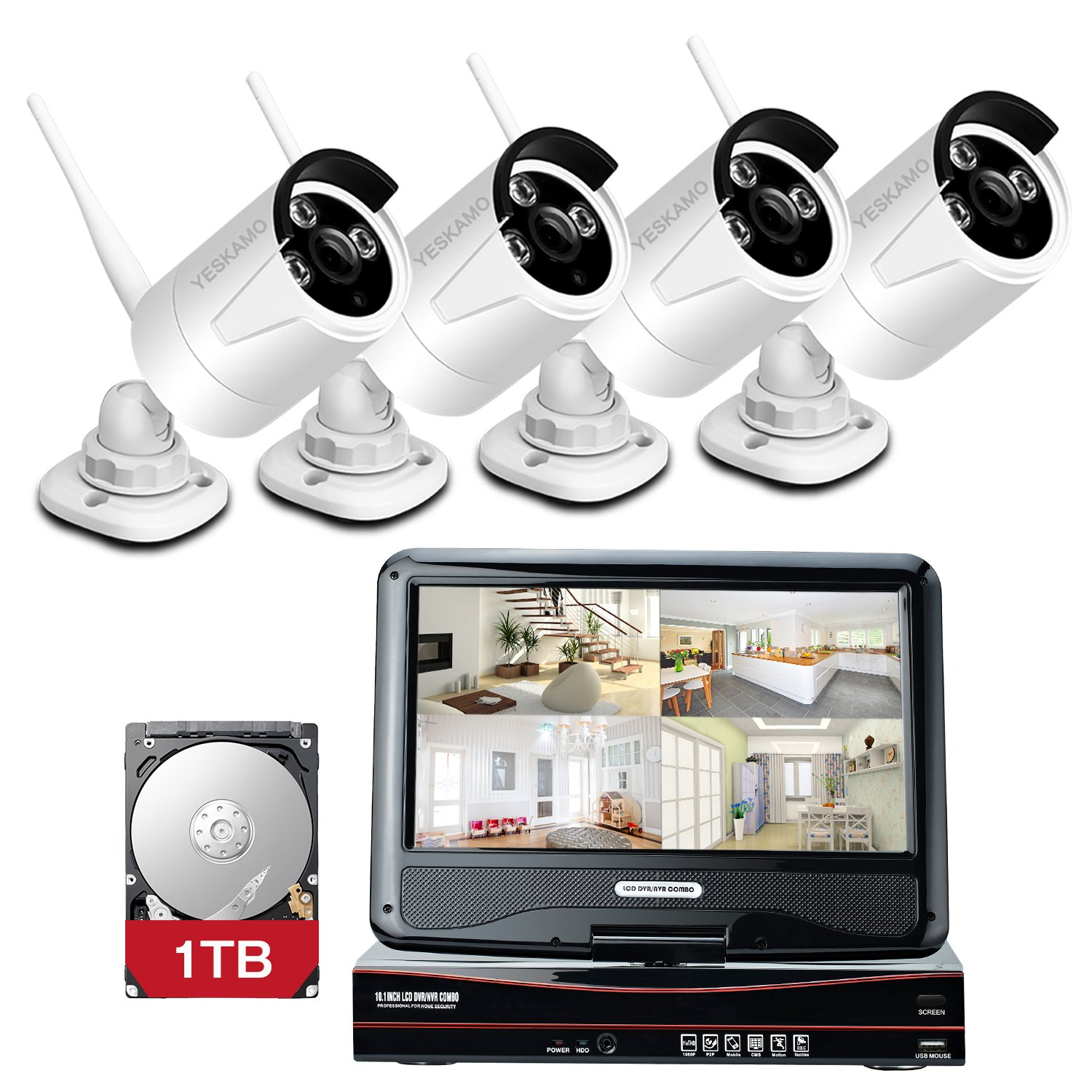 Yeskamo Wireless Cctv Camera Security Systems 4ch 10 Directv Genie Wiring Diagram For Base T Photo