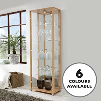 HOME Double Glass Display Cabinet Beech With 4 Glass Shelves, Spotlight,  Mirror Back