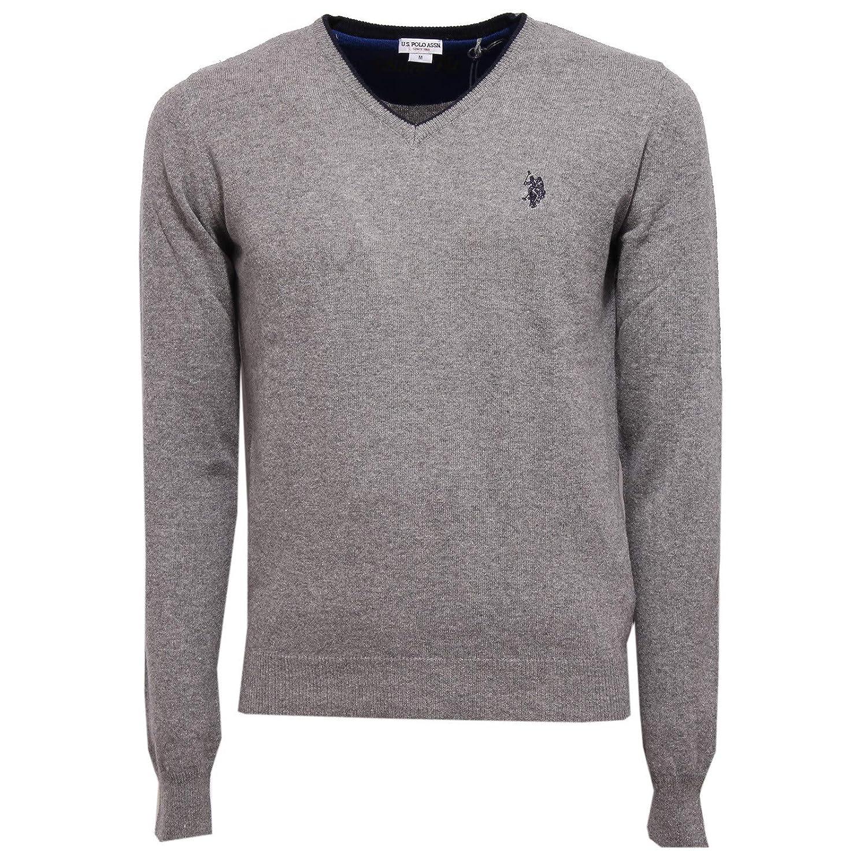 4946K Maglione uomo U.S. POLO ASSN. Grey Mix Wool Sweater Man [M ...