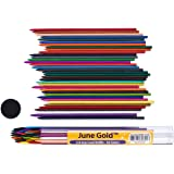 June Gold 36 Assorted Colored 2.0 mm Lead Refills, Bold & 90 mm Tall, 36 Unique Colors, Pre-Sharpened, Break & Smudge Resista