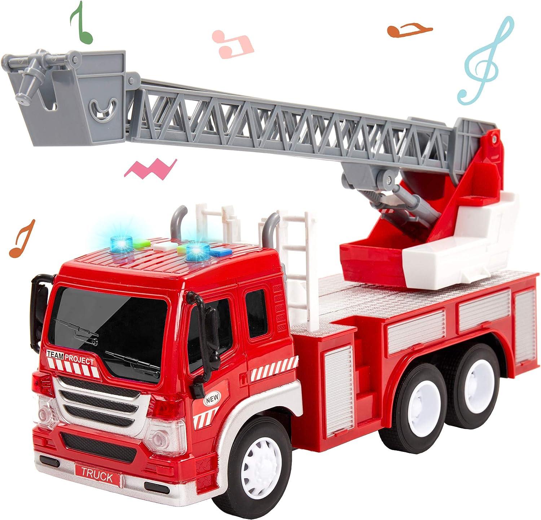 HERSITY Camión de Bomberos con Luces y Sonidos Coches de Construccion Vehículos de Juguete Regalos para Niños 3 4 5 Años