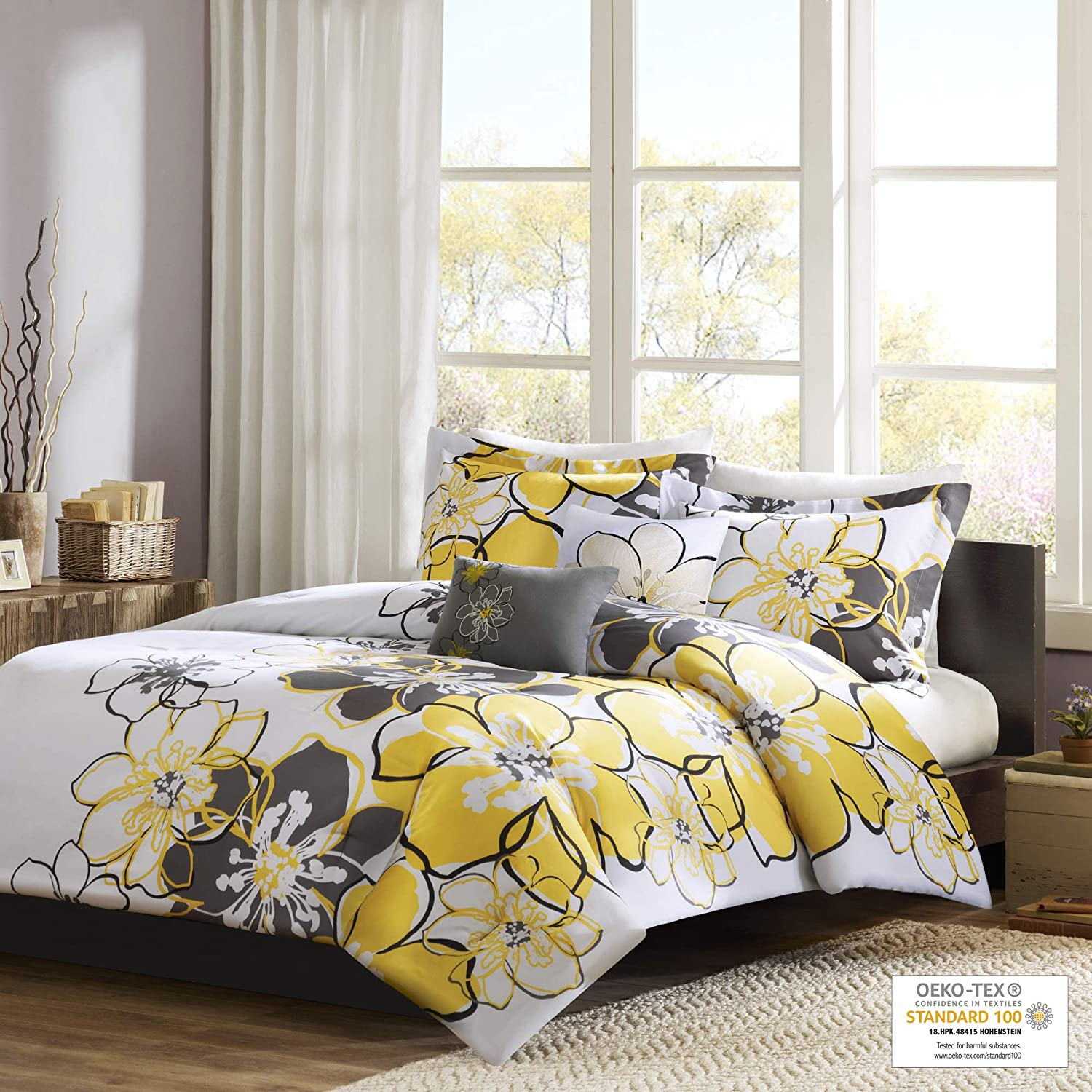 Mi Zone - Allison Comforter Set - Yellow - Full/Queen - Floral Pattern - Includes 1 Comforter, 1 Decorative Pillow, 2 Sham