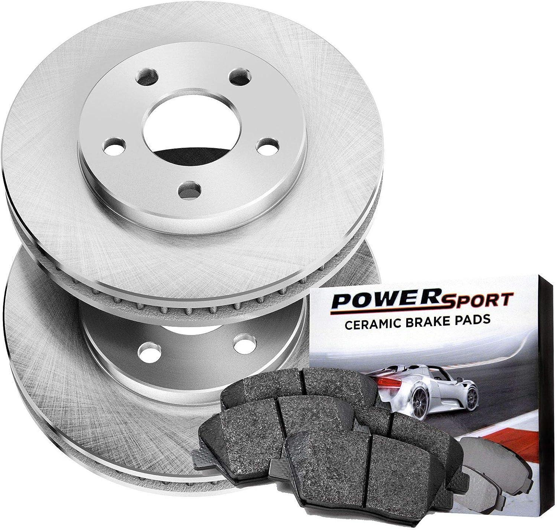 FRONTS Power Sport Plain Replacement Brake Rotors and Ceramic Brake Pads Kit 80544