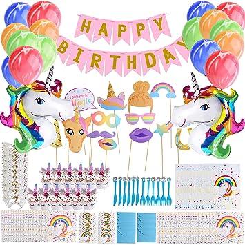 Defrsk Unicornio fiesta de cumpleaños decoraciones ...