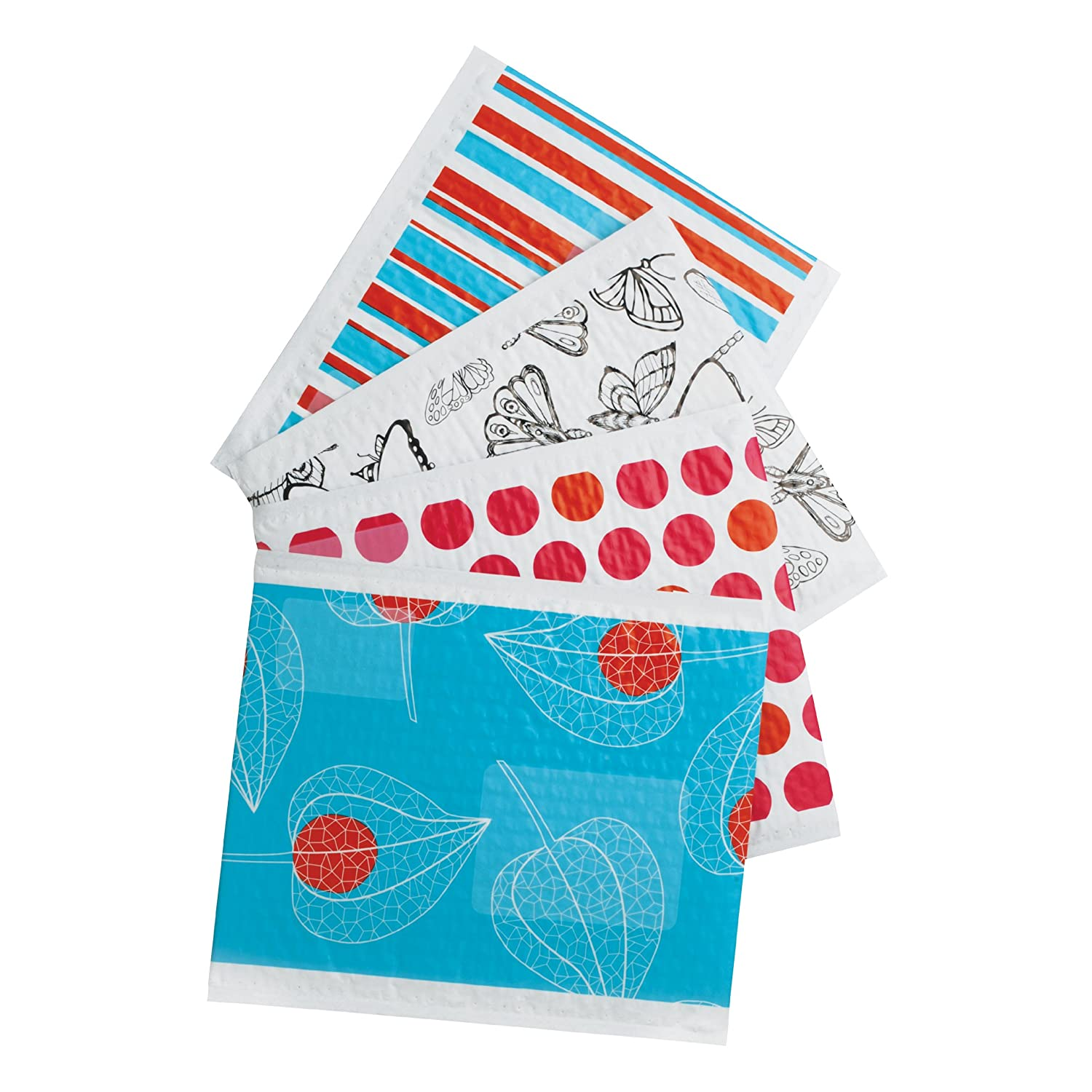 Scotch Decorative Plastic Bubble Mailer Assorted Designs Size 0 6 x 9.25 Inches, 12-Pack (8913-DS) 3M Office Products 8913-DS-ESF