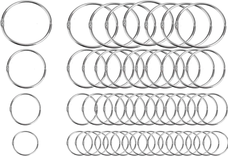 60 PCS Loose Leaf Binder Rings Assorted Sizes (Inner Diameter 1, 1.25, 1.5, 2 inch) Office Book Rings, Nickel Plated Steel Binder Rings, Key Rings, Metal Book Rings, for School,Sliver