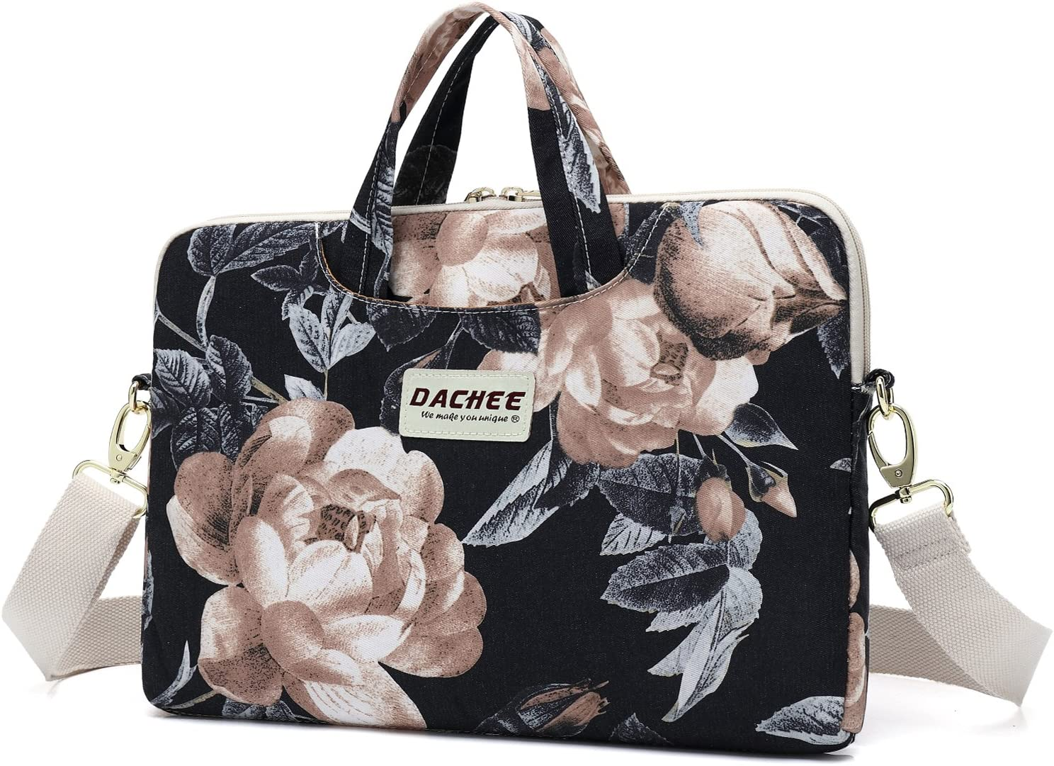 DACHEE Big White Rose Patten Waterproof Laptop Shoulder Messenger Bag Case Sleeve for 11 Inch 12 Inch 13 Inch Laptop