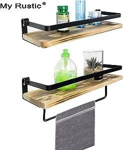 Floating Shelves for Wall Mounted with Rails Decorative Storage Shelves for Kitchen, Bathroom, Matte Black Metal Frame - Set of 2