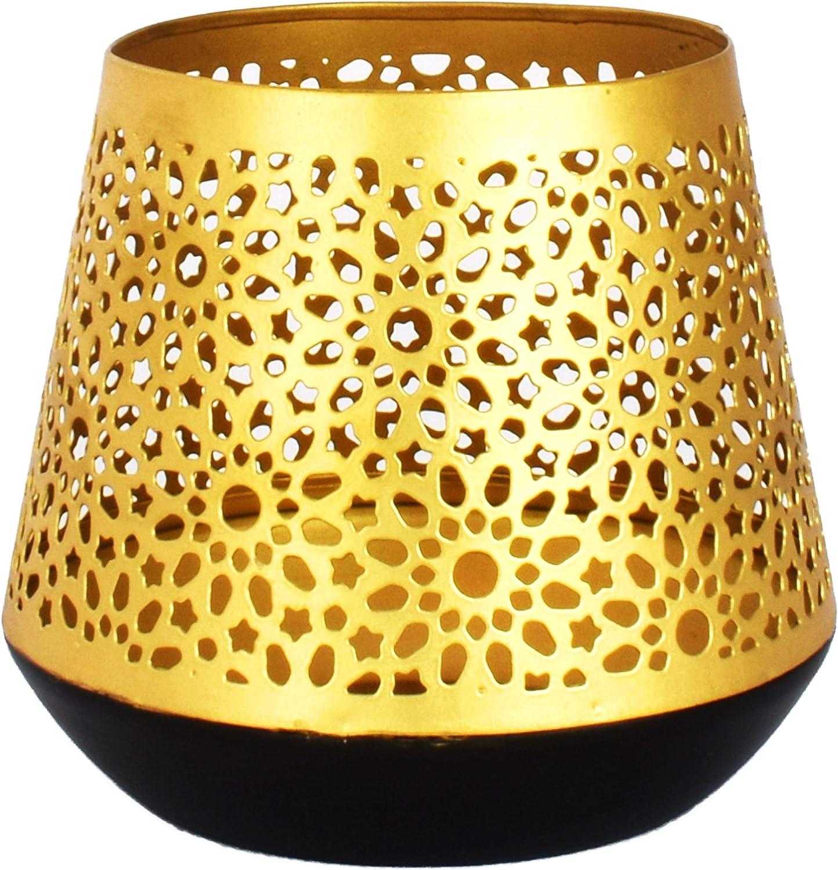 Farol portavelas Oriental de Metal - Candelabro para el jardín - Decorativo para la Mesa - Ceuta Oro - transmite Buen Ambiente - Pasa un Buen rato en el jardín: Amazon.es: Hogar