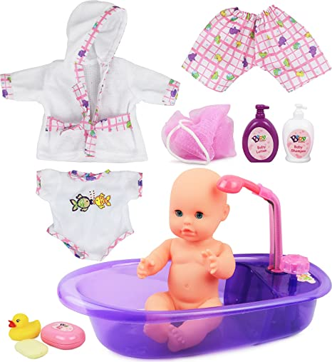 Click n play newborn baby doll bath time play set with accessories
