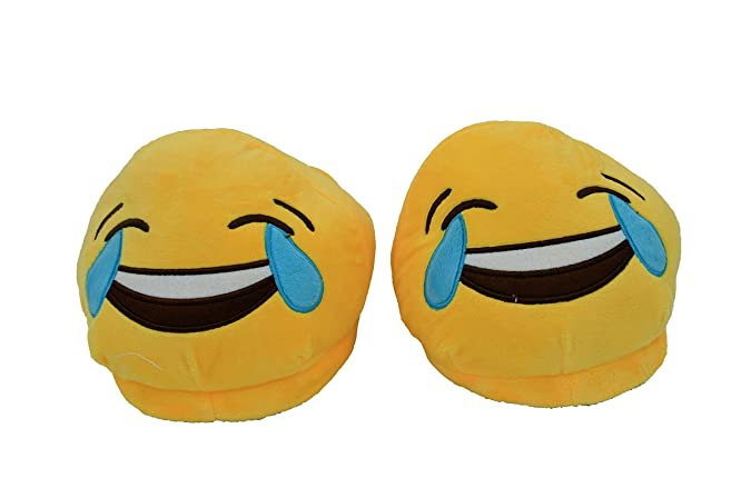 The Crazy Me Emoji Laughing House Indoor Slippers for Women Women's Flip-Flops & Slippers at amazon