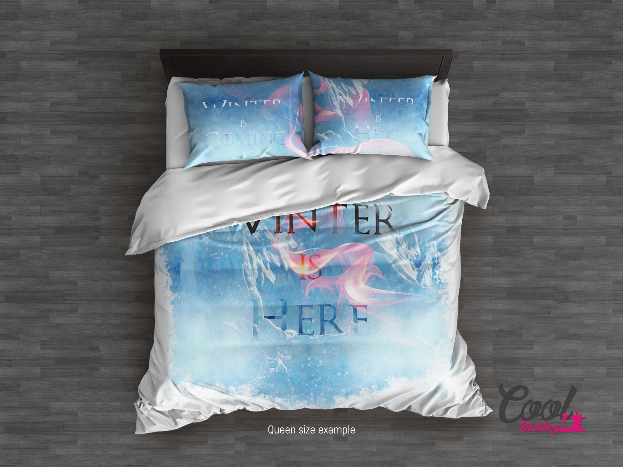 GAME OF THRONES inspired Bedding Set by Cool Bedding. Winter is Coming Duvet Cover. King Queen Full Twin Single size Duvet to Comforter Upgrade. (Queen 95''x87'')