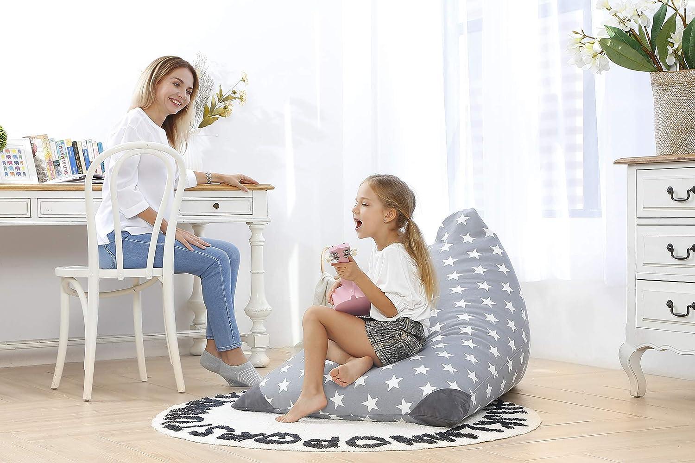 Plush Animal Toy Organizer for Kids Premium Cotton Canvas Girls and Children 23 Inch Long YKK Zipper Extra Large Aubliss Stuffed Animal Storage Bean Bag Chair