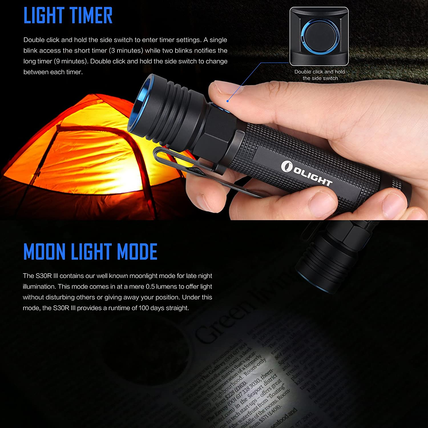 Olight S30R Baton III Flashlight CREE XM-L2 LED 1050 Lumens Variable-Output USB Rechargeable Torch Side-Switch LED Torches with 18650 Battery and BanTac Battery Case