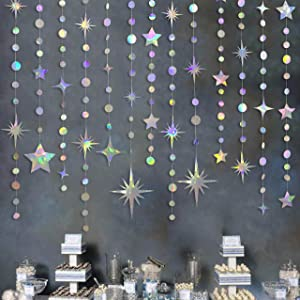 Iridescent Party Decorations Star Circle Dot Paper Garland Banner Bunting Streamer Metallic Hanging Twinkle Star Decoration for Kids Birthday Baby Shower Wedding Festival Engagement Sweet 16 Decor