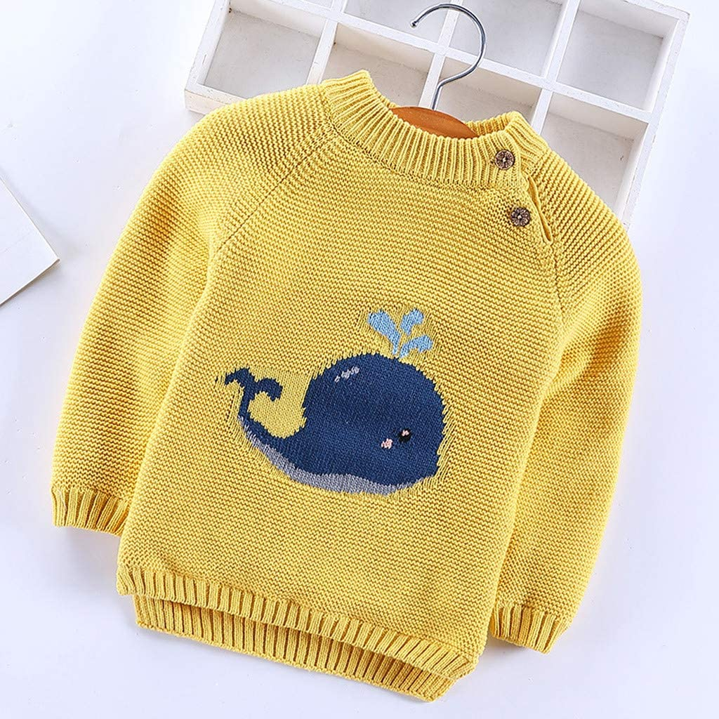 Sikye Toddler Baby Girls Boys Knitted Sweater Acrylic Fibers Cetacean Button O-Neck Pullover Tee Top Home Outfit