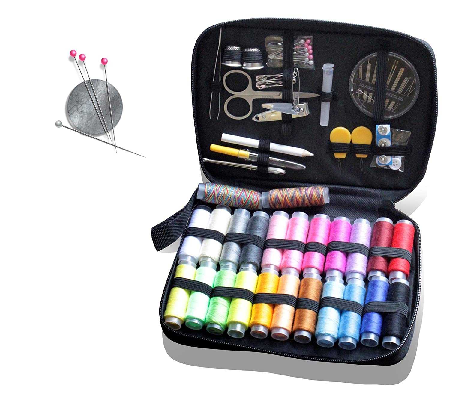 Premium Sewing Kit by Ambears& D - 24 Spools of Thread, Best Mini Repair Kit for Travellers and Beginners - Sewing Set for Home and Office, Clothes Fix and Repair - Best Sewing Supplies 4337015563