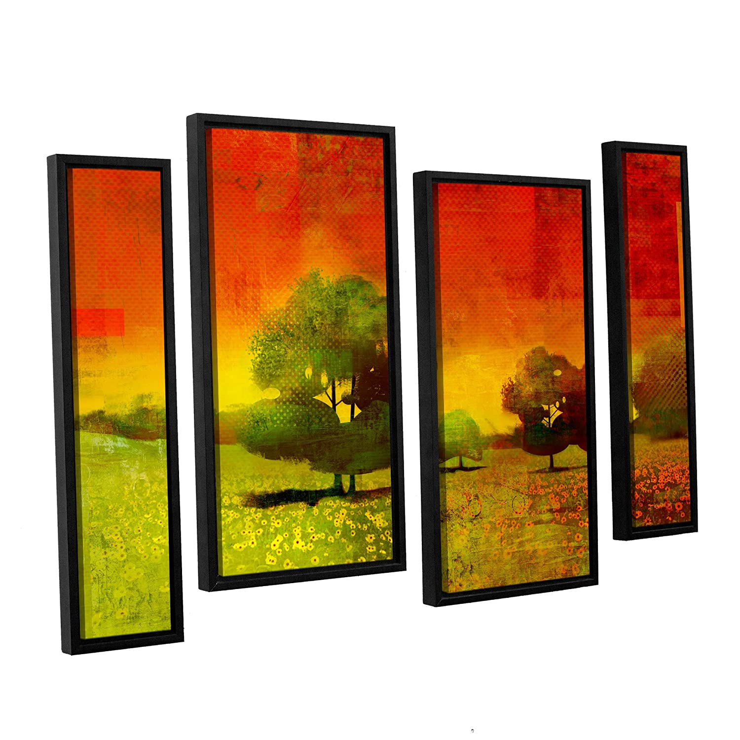 ArtWall 4 Piece Greg Simanson's Drenched Grace Floater Framed Canvas Staggered Set, 36 x 54