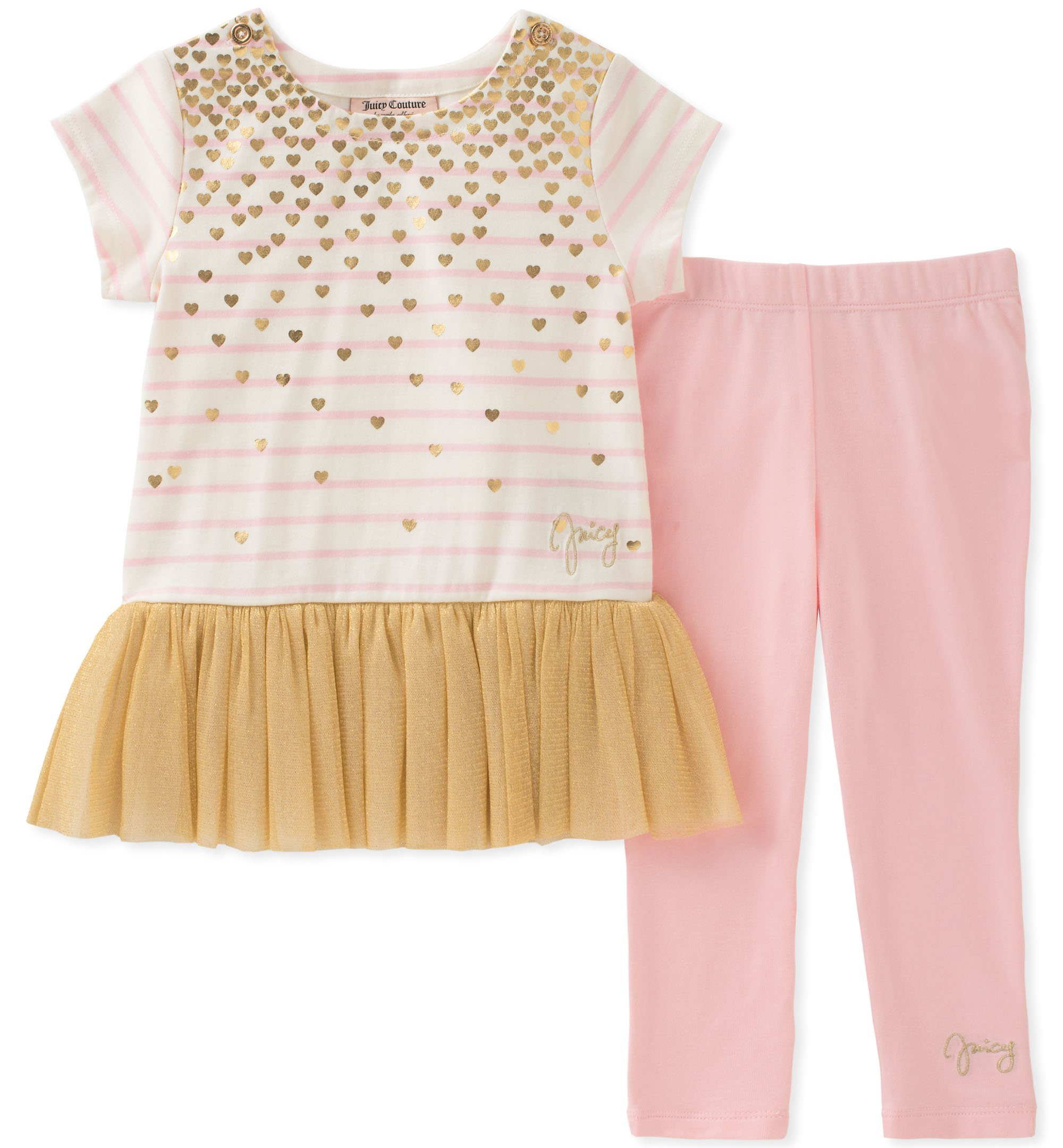Juicy Couture Girls' Toddler 2 Pieces Tunic Set, Gold/Pink, 3T