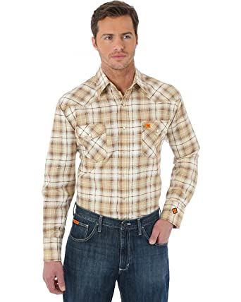 a99b19ba4a85 Wrangler Men s Western Khaki Plaid Flame Resistant Work Shirt Khaki XX-Large  at Amazon Men s Clothing store
